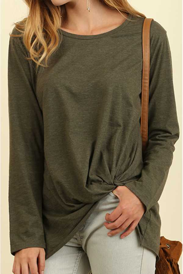 SOLID ROUND-NECK LONG SLEEVE TOP