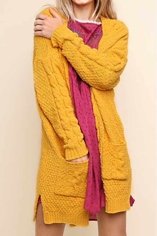 SOLID CHENILLE CABLE KNIT LONG CARDIGAN SWEATER