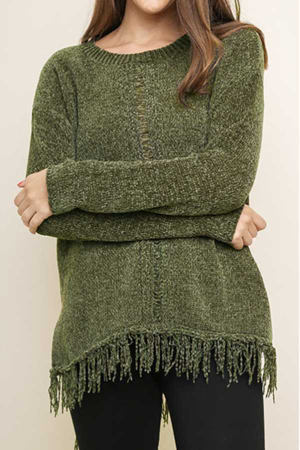 SOLID LONG SLEEVE CHENILLE KNIT PULLOVER SWEATER TOP