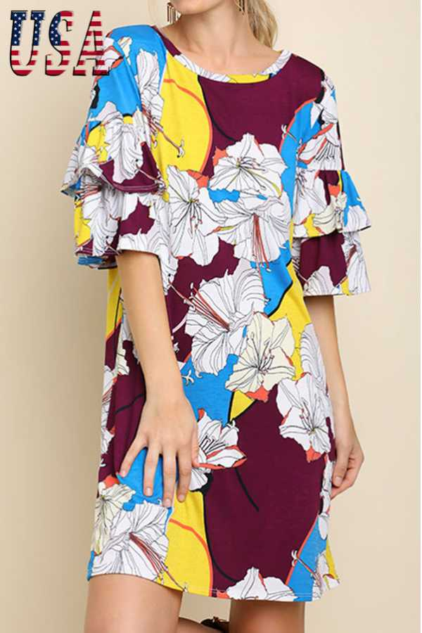 FLORAL PRINT LAYERED RUFFLE SHORT SLEEVE DRESS