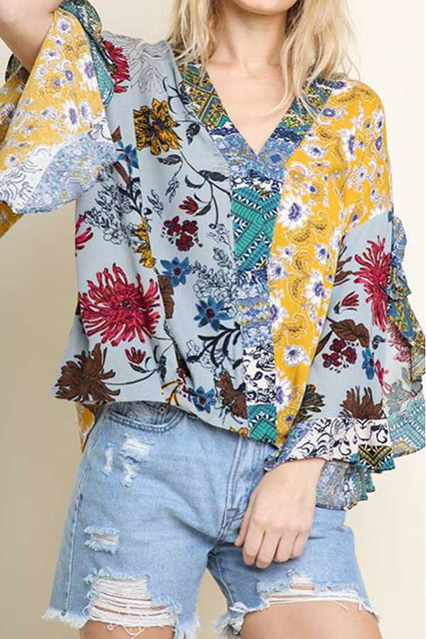 MULTI FLORAL PRINT SPLIT RUFFLE SLEEVE CROSS TOP