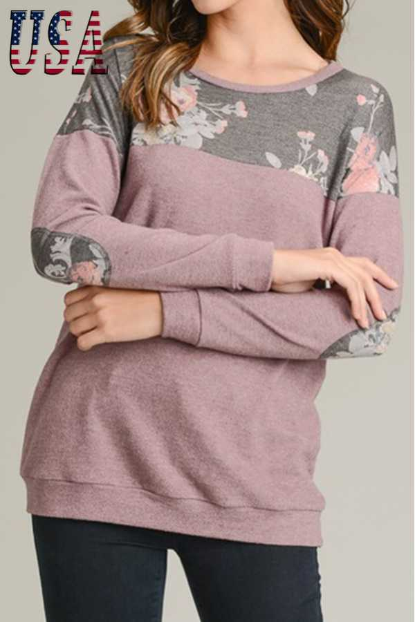 SOLID COZY FRENCH TERRY LONG SLEEVE TOP