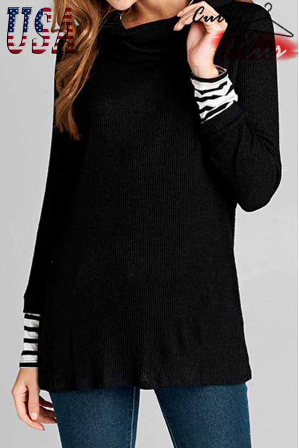 SOLID LONG SLEEVE TURTLE-NECK TOP