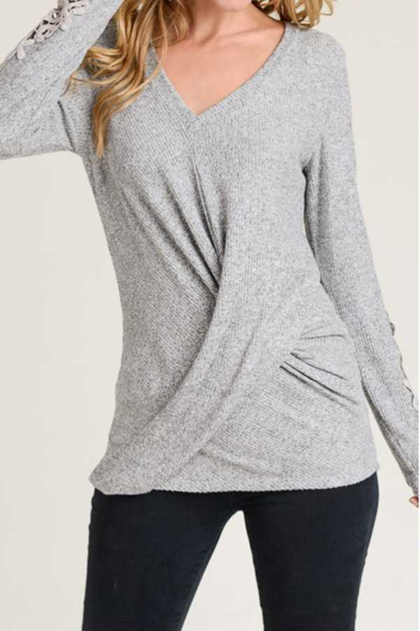 SOLID BRUSHED RIB HACCI V-NECK FRONT DRAPED KNIT TOP