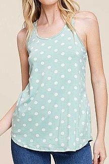 POLKA DOT RACER BACK TANK TOP