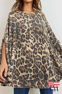 LEOPARD PRINT BRUSHED PONCHO TOP