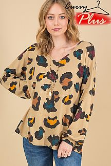 LEOPARD PRINT V-NECK PUFF SLEEVE TOP