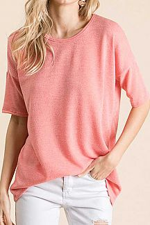 SOLID SHORT SLEEVE JERSEY KNIT TUNIC TOP
