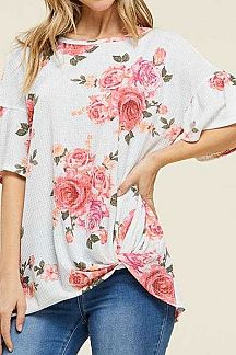 FLORAL PRINT TWISTED KNOT DETAIL KNIT TOP