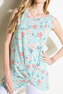 FLORAL PRINT SLEEVELESS TUNIC TOP