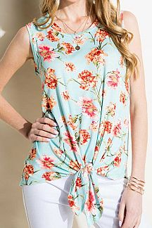 FLORAL PRINT SLEEVELESS KNIT TOP