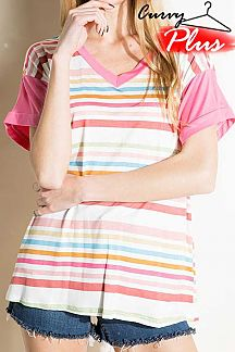 MULTI STRIPED CONTRAST SHORT SLEEVE KNIT TOP