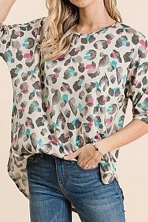 MULTI COLOR ANIMAL PRINT LOOSE FIT TOP