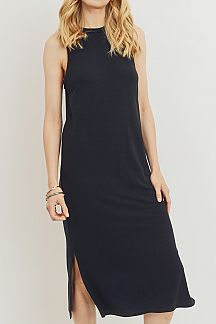 SOLID SLEEVELESS MIDI DRESS