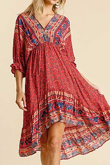 MIXED BOHO PRINT 3.4 PUFF SLEEVE MIDI DRESS