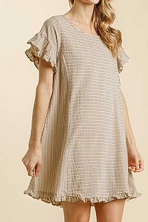 STRIPED RUFFLE SHORT SLEEVE WOVEN DRESS