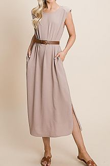 SOLID PADDED SHOULDER SLEEVELESS MIDI DRESS