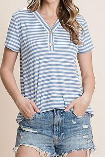 STRIPED BUTTON UP SHORT SLEEVE TOP