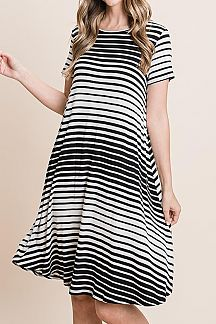 STRIPED SHORT SLEEVE FLARE DRESS