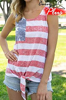 AMERICAN FLAG THEME PRINT TANK TOP