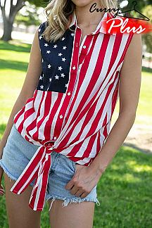 AMERICAN FLAG PRINT SLEEVELESS SHIRT TOP