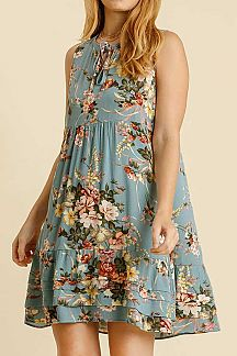 FLORAL PRINT TIED NECK SLEEVELESS DRESS
