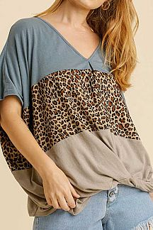 ANIMAL PRINT COLOR BLOCK TWISTED FRONT TOP