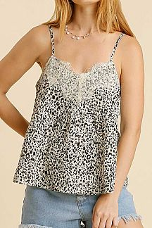 ANIMAL PRINT LACE TRIM DETAIL CAMI TOP