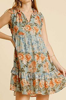 FLORAL PRINT RUFFLE TRIM NECK DETAIL SLEEVELESS DRESS