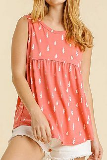 THUNDERBOLT PRINT SLEEVELESS BABYDOLL TOP