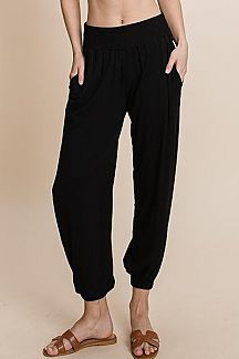 SOLID ELASTIC WAISTBAND KNIT PANTS