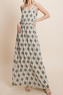 BOHO PRINT SLEEVELESS WOVEN MAXI DRESS