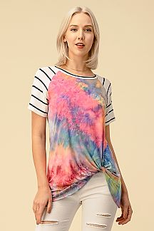 TIE DYE PRINT CONTRAST STRIPED RAGLAN TOP