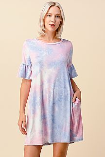 TIE DYE PRINT RUFFLE SLEEVE DRESS