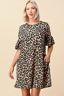 LEOPARD PRINT RUFFLE SLEEVE DRESS