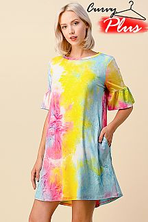 SPLASH TIE DYE PRINT RUFFLE SLEEVE DRESS
