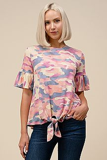 CAMOUFLAGE PRINT RUFFLE SLEEVE TOP WITH FRONT TIE