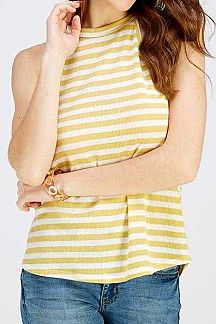 STRIPED SLEEVELESS KNIT TOP