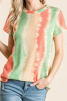 MULTI COLOR TIE DYE STRIPED KNIT TOP