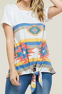 AZTEC PRINT SHORT SLEEVE KNIT TOP