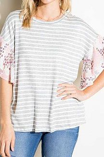 PAISLEY PRINT ACCENT RUFFLE SLEEVE STRIPED KNIT TOP