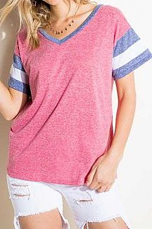 STRIPED ACCENT SHORT SLEEVE SOLID KNIT TOP