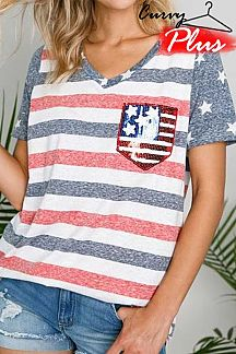 AMERICAN FLAG THEME PRINT SHORT SLEEVE KNIT TOP