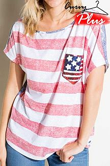 AMERICAN FLAG THEME PRINT BOXY TOP