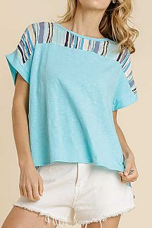 MULTI COLOR STRIPED SHORT SLEEVE WOVEN TOP