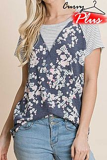 FLORAL PRINT CONTRAST PIN STRIPED SHORT SLEEVE TOP
