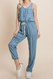 SOLID DENIM SLEEVELESS JUMPSUIT