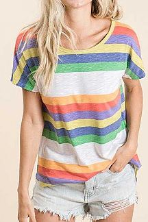 MULTI COLOR STRIPED SHORT SLEEVE KNIT TOP