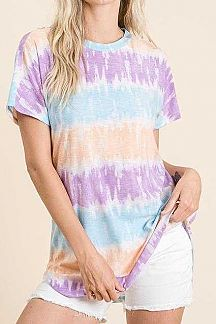 TIE DYE STRIPED SHORT SLEEVE KNIT TOP