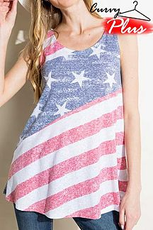 AMERICAN FLAG THEME PRINT KNIT TANK TOP